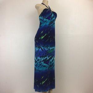 Saint Tropaz West Maxi Dress 8 Multi Color Halter